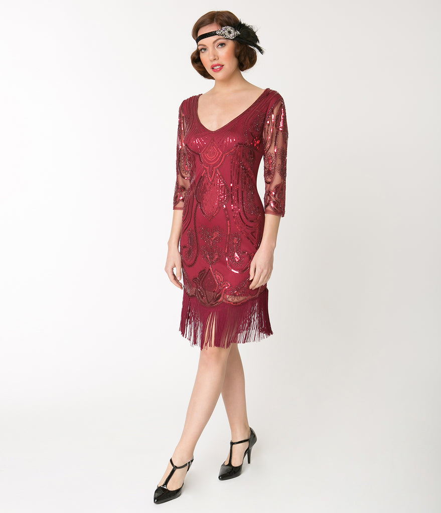 Unique Vintage Burgundy Red Sequin Margaux Sleeved Fringe Flapper Dress