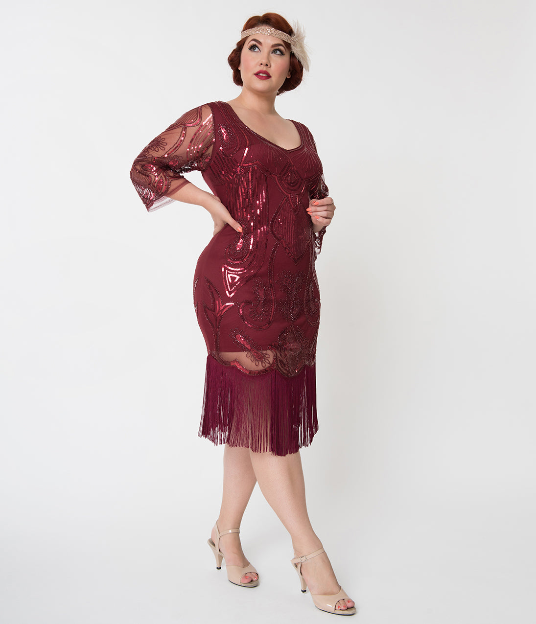 1920s Evening Gowns by Year Unique Vintage Plus Size Burgundy Red Sequin Margaux Sleeved Fringe Flapper Dress $50.00 AT vintagedancer.com