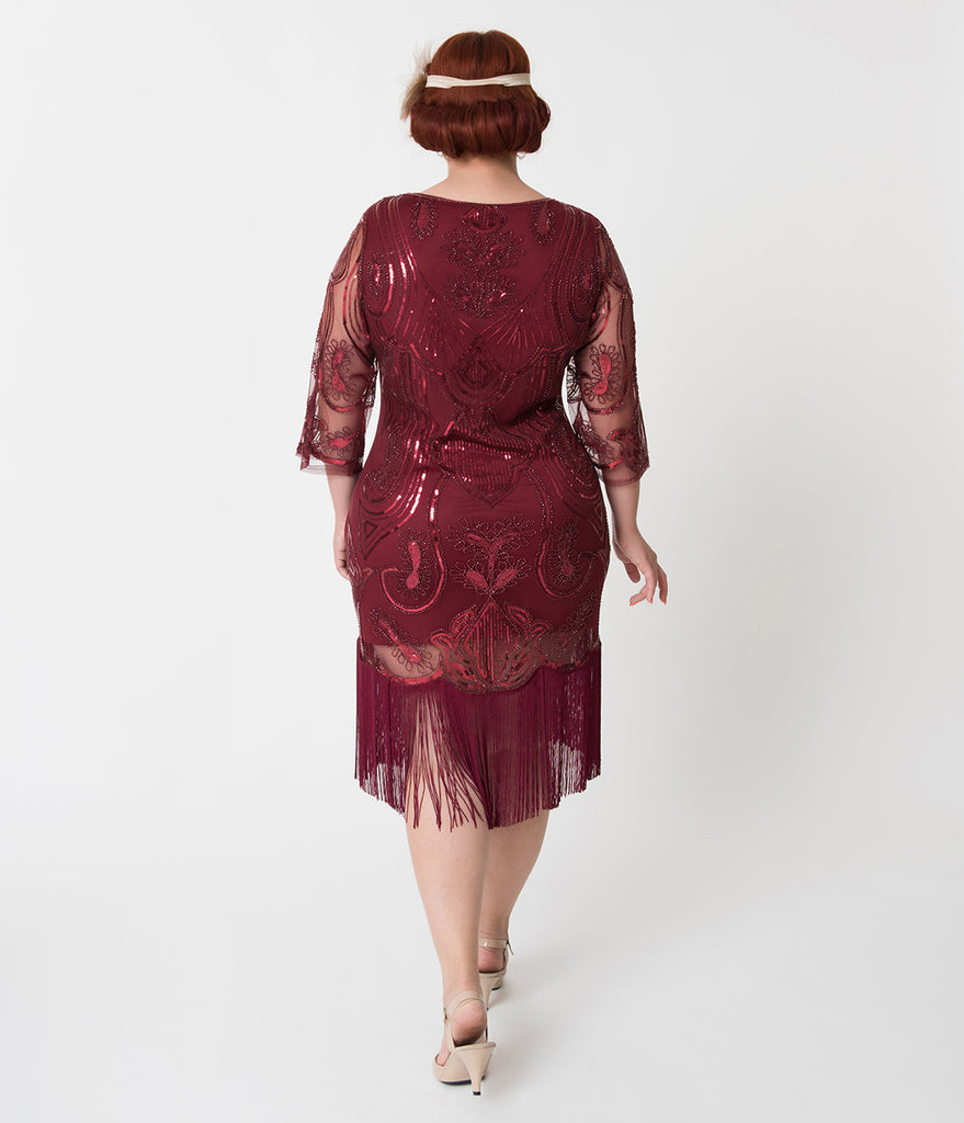 Unique Vintage Plus Size Burgundy Red Sequin Margaux Sleeved Fringe Flapper Dress