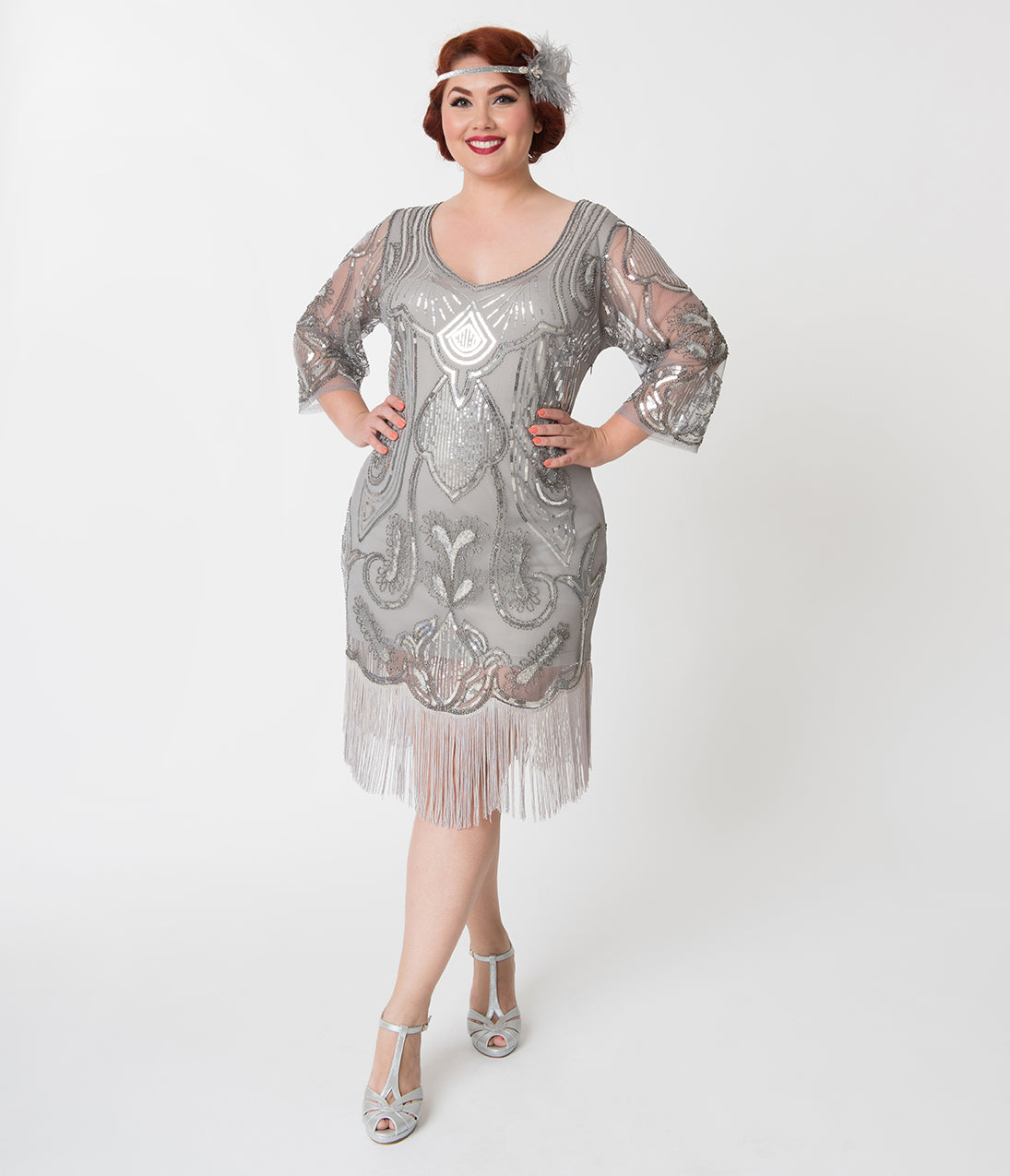 2440d8c9854 Charleston Dress  Fringe Flapper Dress Unique Vintage Plus Size Silver  Sequin Margaux Sleeved Fringe Flapper