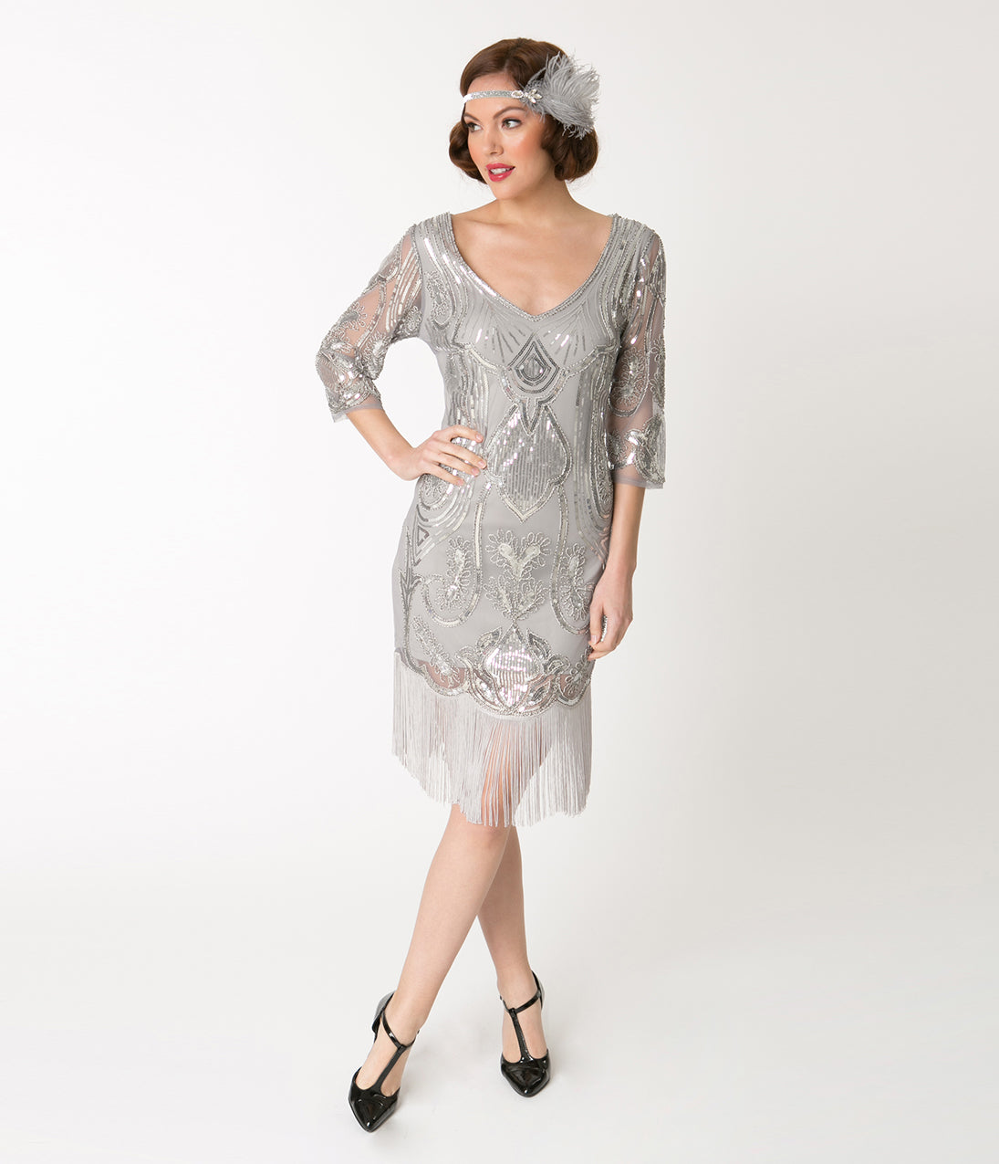1920s Evening Dresses & Formal Gowns Unique Vintage Silver Sequin Margaux Sleeved Fringe Flapper Dress $51.00 AT vintagedancer.com