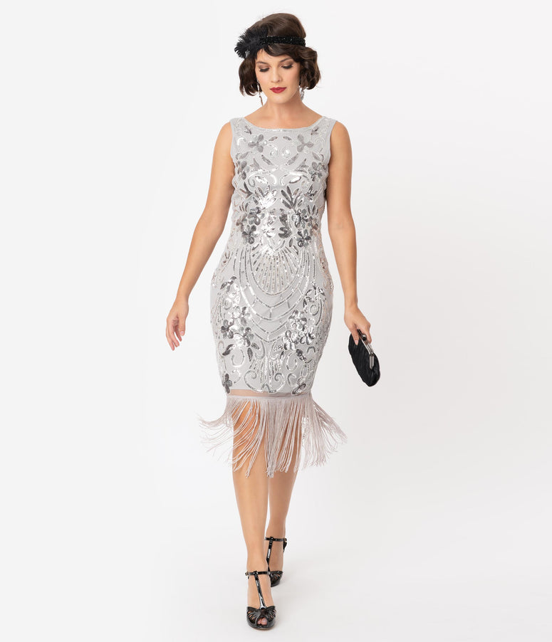 Unique Vintage Silver Sequin Alix Fringe Flapper Dress