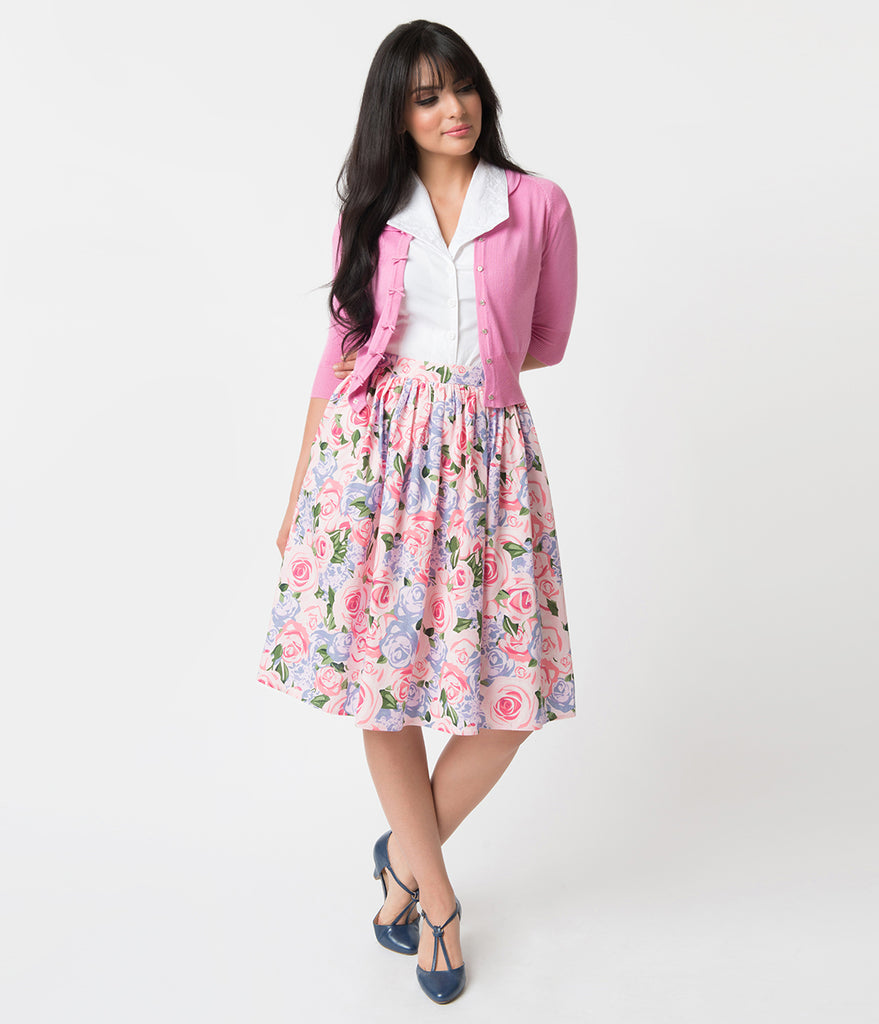 Collectif Pink Country Garden Woven Cotton Jasmine Swing Skirt