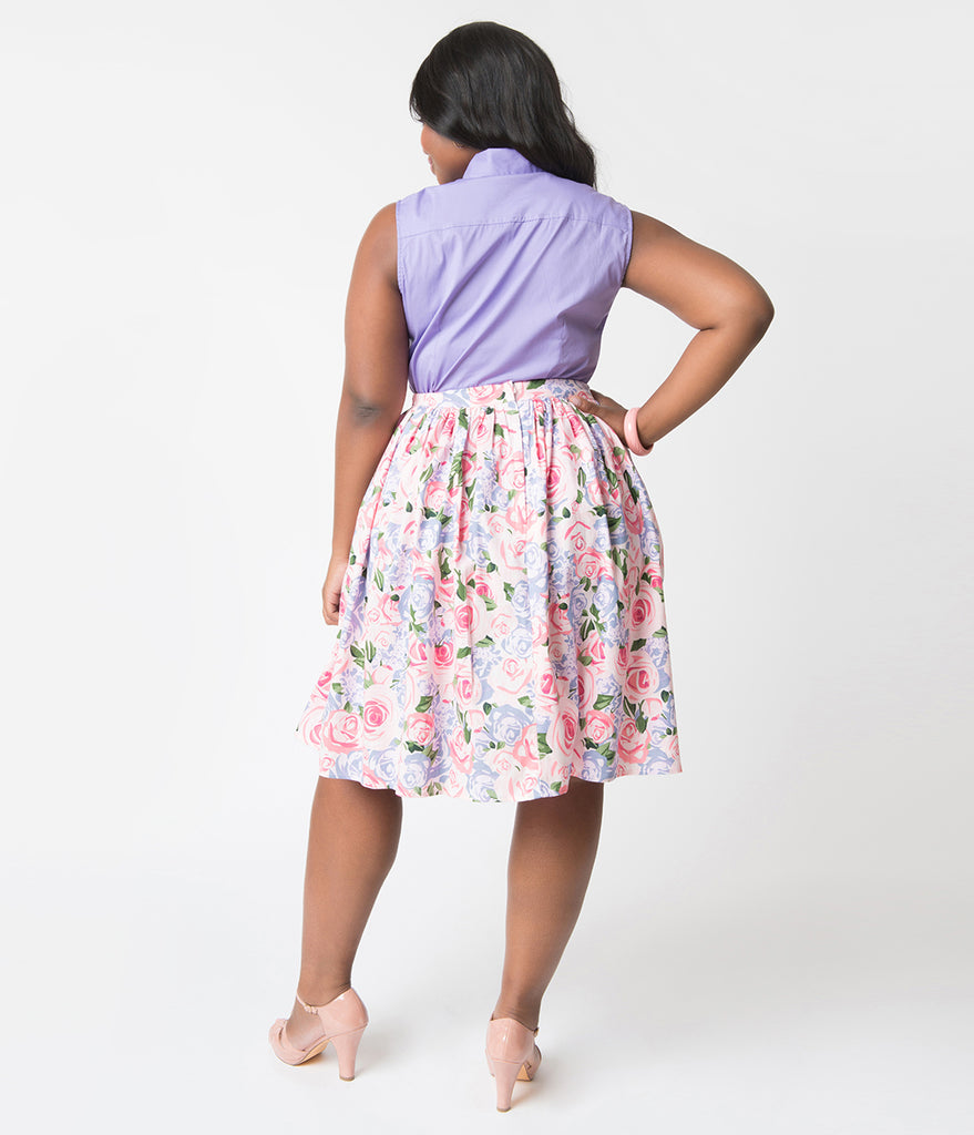 Collectif Plus Size Pink Country Garden Woven Cotton Jasmine Swing Skirt