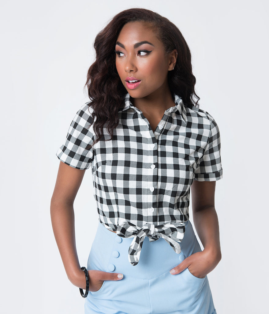 Collectif Vintage Style Black & White Gingham Sammy Cotton Tie Blouse