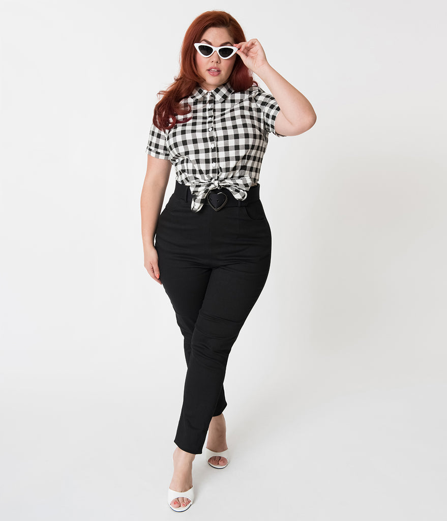 Collectif Plus Size Vintage Style Jane Plain Black Cotton High Waisted Trousers