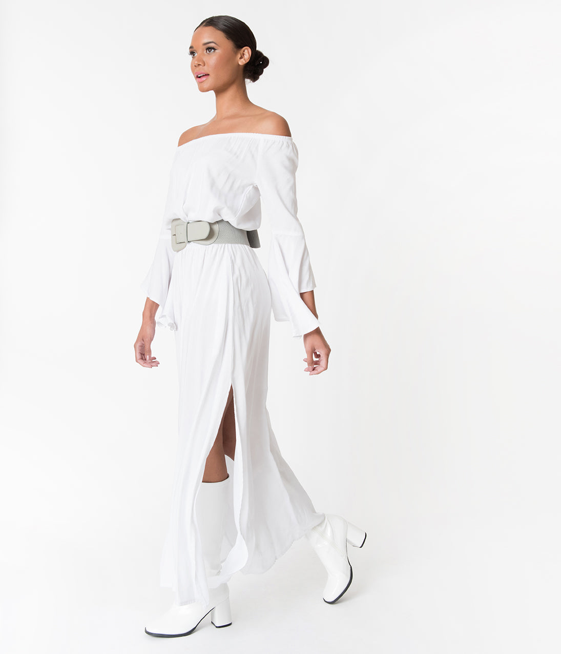 1960s Dresses: New 60s Style Dresses – Jackie O to Mod Retro Style White Off The Shoulder Long Angel Sleeved Maxi Dress $62.00 AT vintagedancer.com
