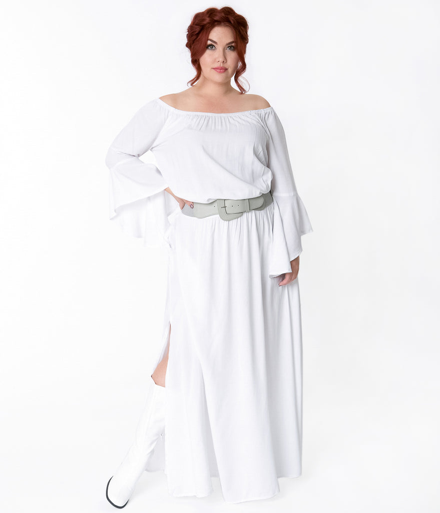 White Plus Size Maxi Dresses with Sleeves