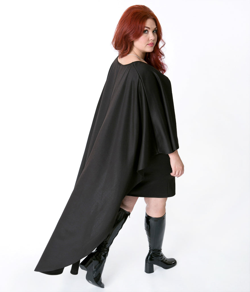 Plus Size Black Flutter Sleeve Bodycon Stretch Dress with Cape