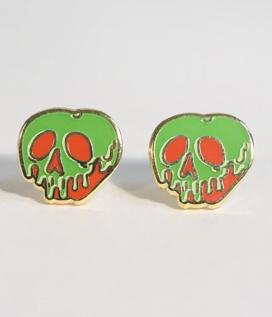 Green & Red Poisoned Apple Stud Earrings