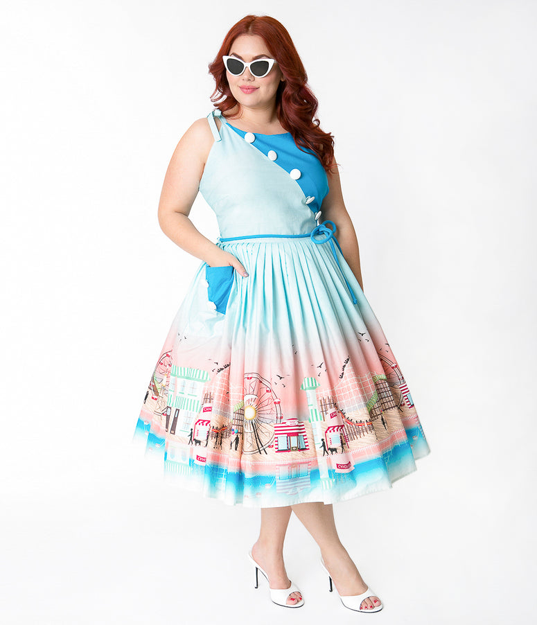 Unique Vintage Plus Size 1950s Style Blue Boardwalk Print Hamilton Swing Dress
