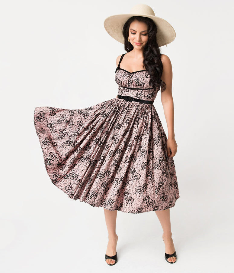 Micheline Pitt For Unique Vintage Peach & Black Lace Print Alice Swing Dress