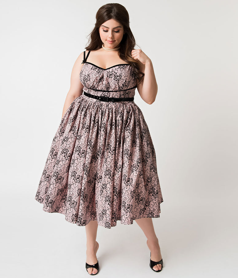 Micheline Pitt For Unique Vintage Plus Size Peach & Black Lace Print Alice Swing Dress