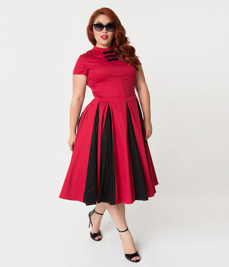 Unique Vintage Plus Size 1950s Style Red & Black Pleated Cynthia Swing Dress