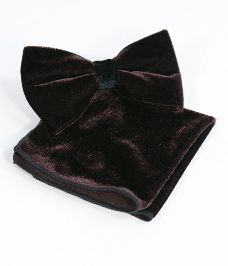 Dark Brown Velvet Bow Tie & Hanky Set