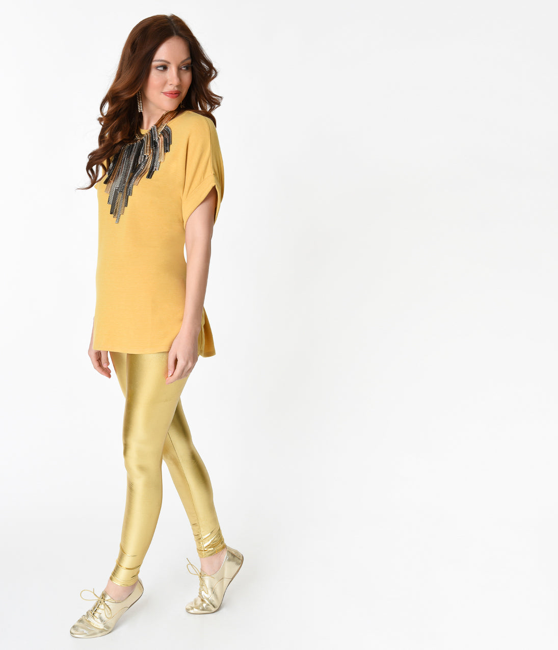 60s Shirts, T-shirt, Blouses | 70s Shirts, Tops, Vests Retro Style Mustard Gold Short Sleeve Stretch Tunic Tie Top $23.00 AT vintagedancer.com
