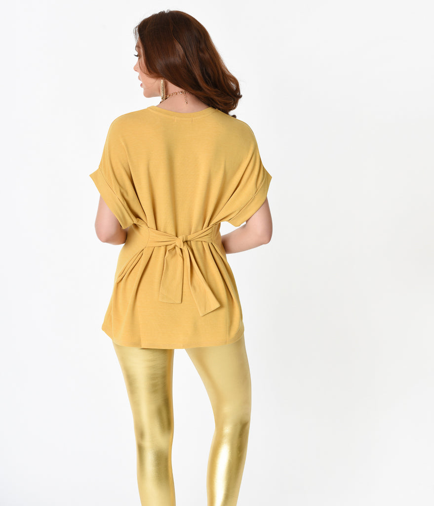 Retro Style Mustard Gold Short Sleeve Stretch Tunic Tie Top