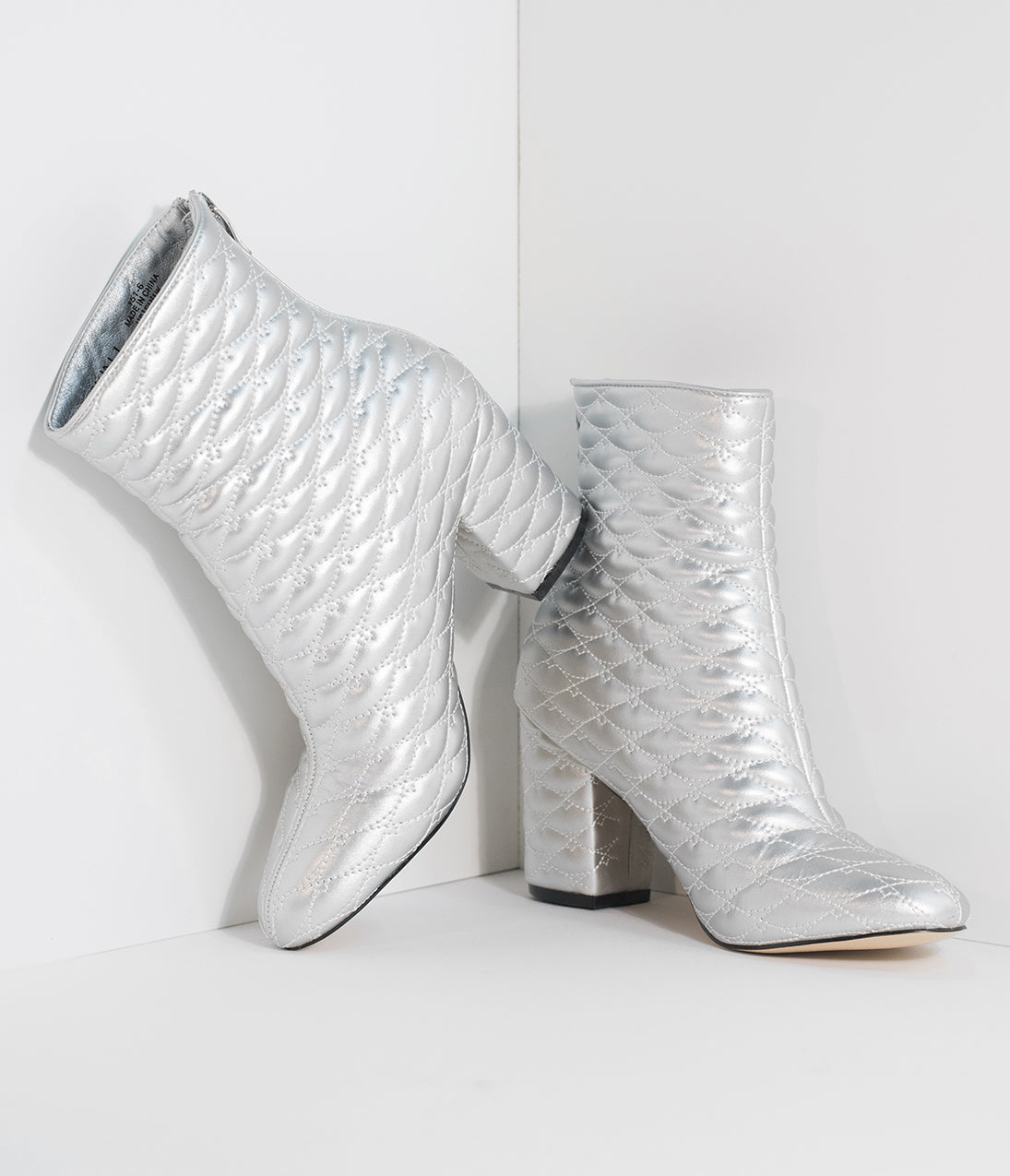 Retro Boots, Granny Boots, 70s Boots Metallic Silver Quilted Ankle Booties $46.00 AT vintagedancer.com