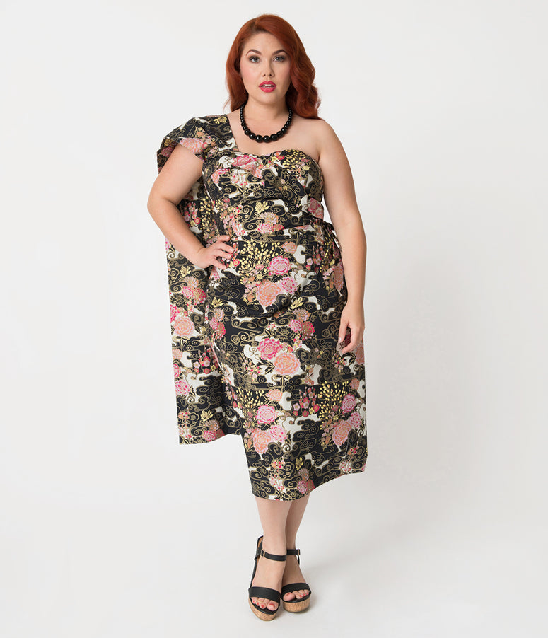 Alfred Shaheen Plus Size Blossoms Print Sarong
