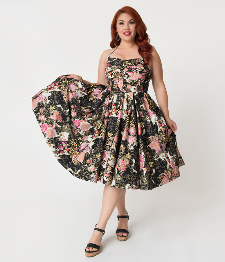 Alfred Shaheen Plus Size Cherry Blossoms Print Hawaiian Swing Dress
