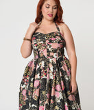 Alfred Shaheen Plus Size Blossoms Print Hawaiian Swing Dress