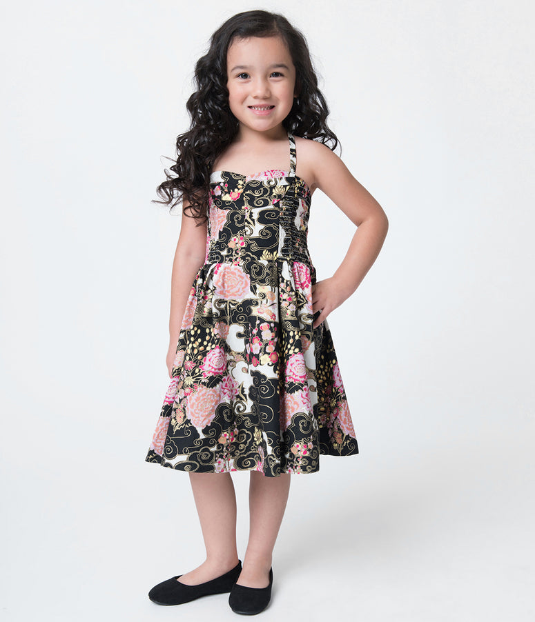 Alfred Shaheen Cherry Blossoms Print Hawaiian Childrens Dress