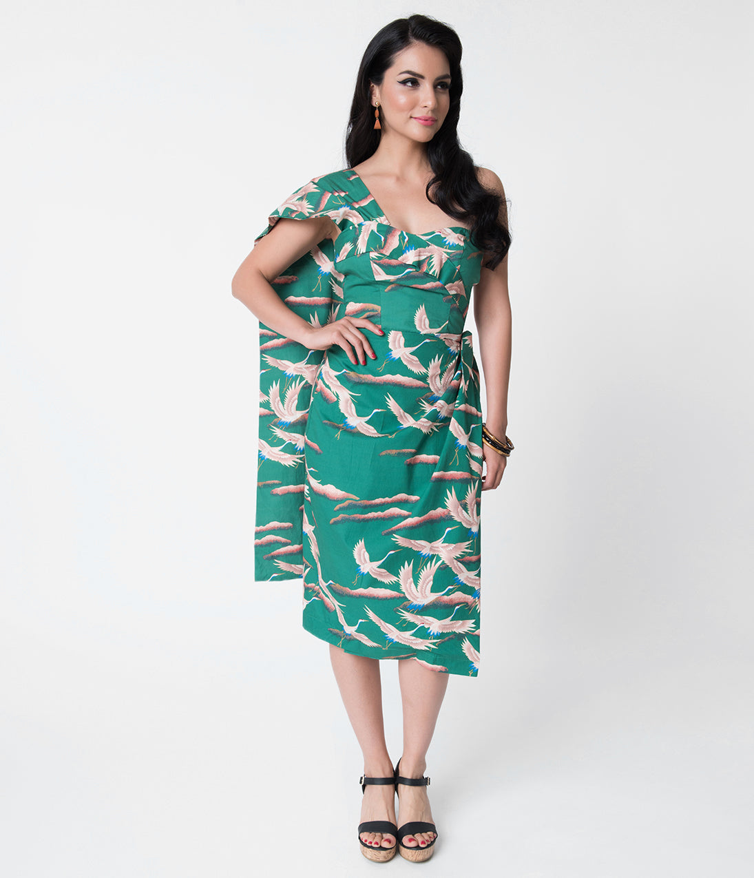 New Fifties Dresses | 50s Inspired Dresses Alfred Shaheen Green Cranes Print Sarong $119.00 AT vintagedancer.com