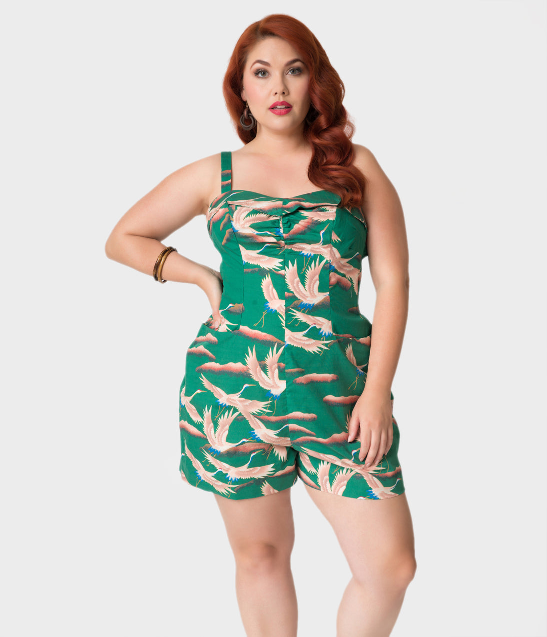 Vintage Rompers | Retro, Pin Up, Rockabilly Playsuits Alfred Shaheen Plus Size Green Cranes Print Hawaiian Romper $117.00 AT vintagedancer.com