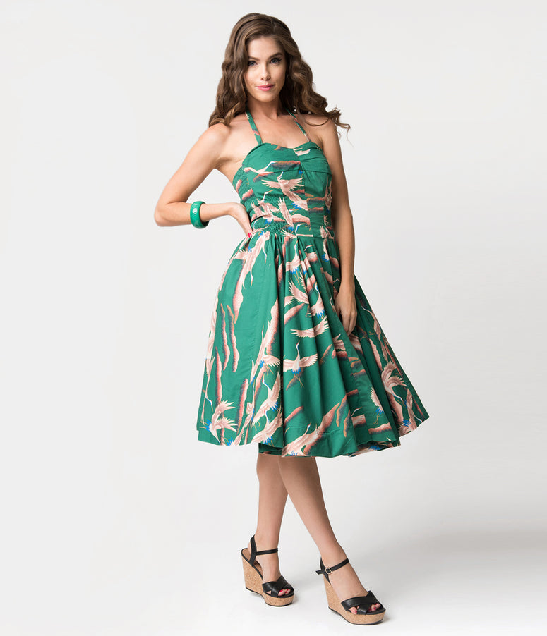 Alfred Shaheen Green Cranes Print Hawaiian Swing Dress