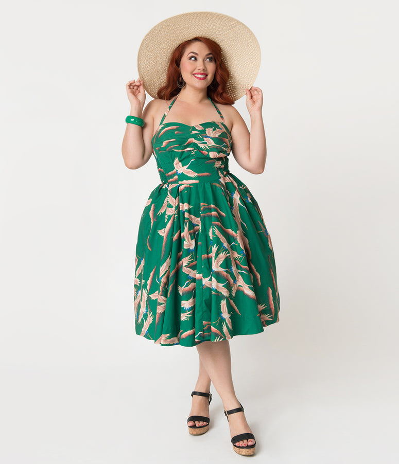 Alfred Shaheen Plus Size Green Cranes Print Hawaiian Swing Dress