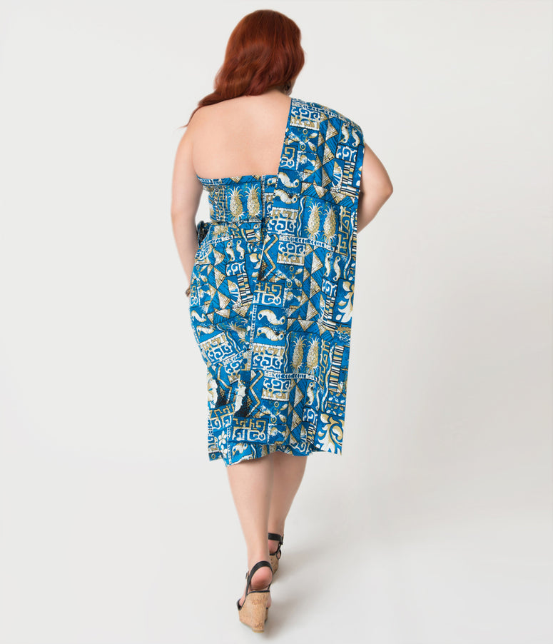 Alfred Shaheen Plus Size Blue Tapa Tapestry Print Sarong