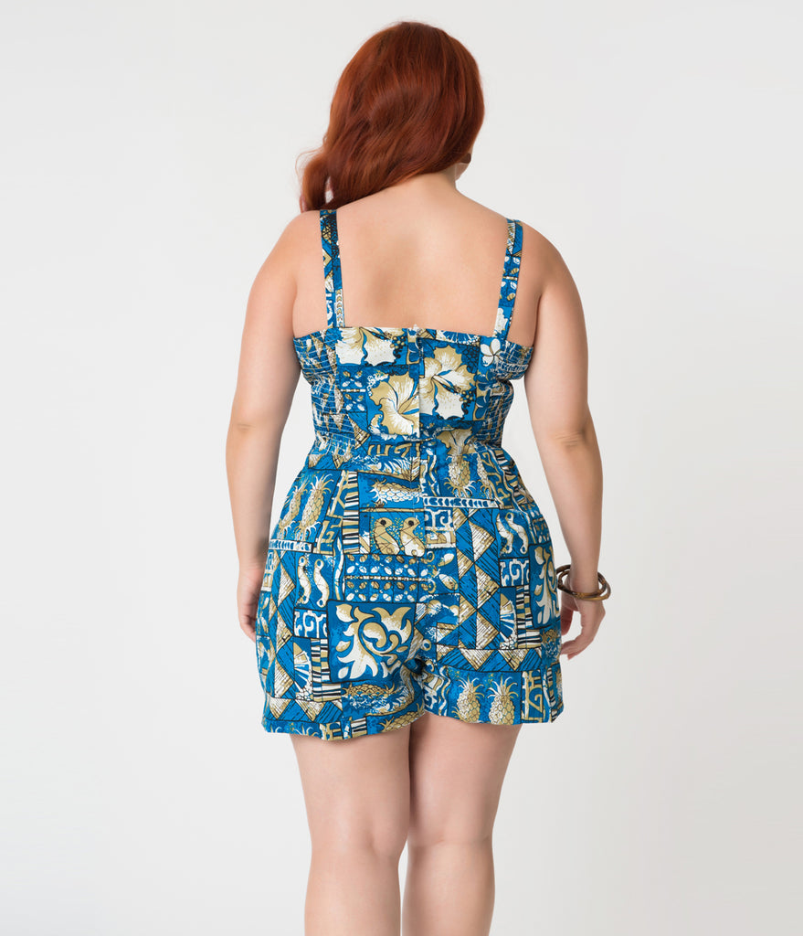 Alfred Shaheen Plus Size Blue Tapa Tapestry Print Hawaiian Romper