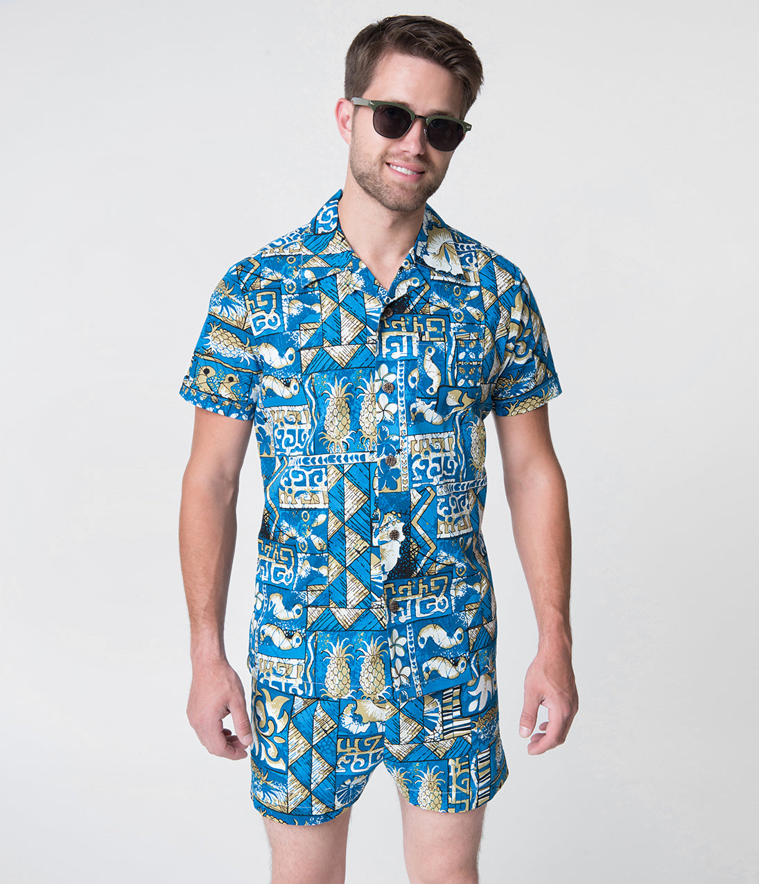 Vintage Shirts – Mens – Retro Shirts Alfred Shaheen Blue Tapa Tapestry Print Mens Hawaiian Cabana Set Shorts $66.00 AT vintagedancer.com