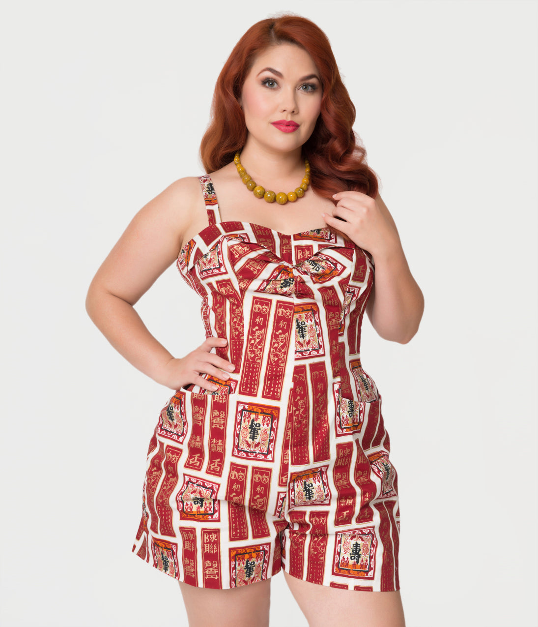 Vintage Rompers | Retro, Pin Up, Rockabilly Playsuits Alfred Shaheen Plus Size Golden Scrolls Print Hawaiian Romper $109.00 AT vintagedancer.com