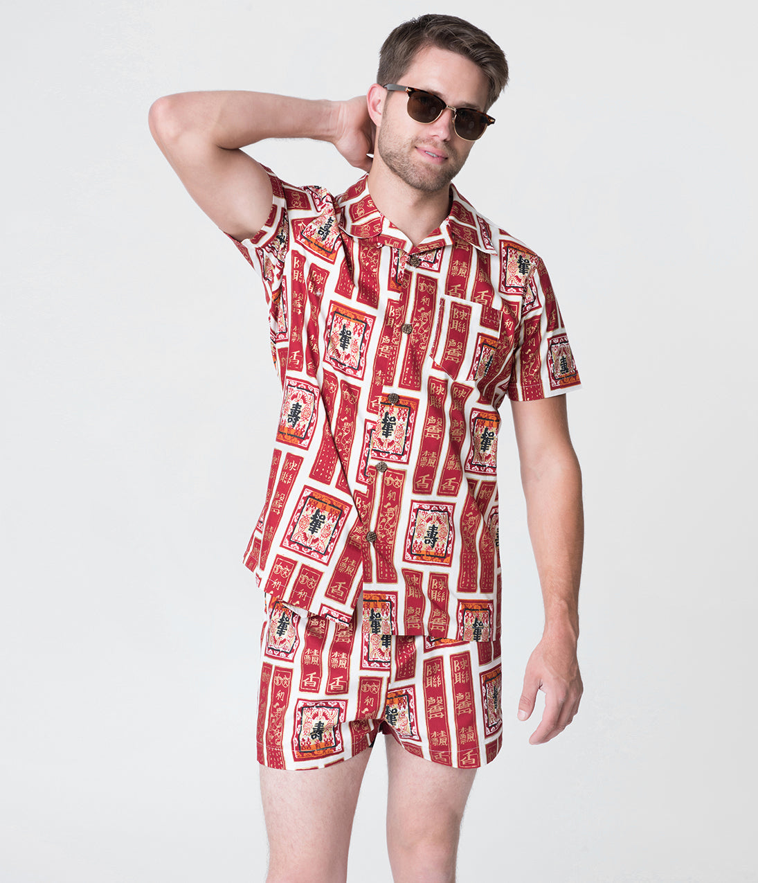 New Fifties Dresses | 50s Inspired Dresses Alfred Shaheen Golden Scrolls Print Mens Hawaiian Cabana Set Shorts $78.00 AT vintagedancer.com