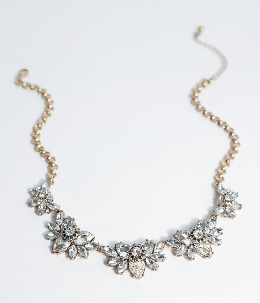 Vintage Style Silver Crystal & Rhinestone Statement Necklace