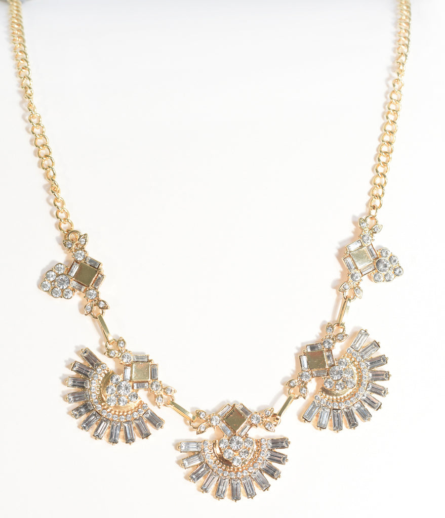 Gold & Silver Rhinestone Deco Fan Necklace