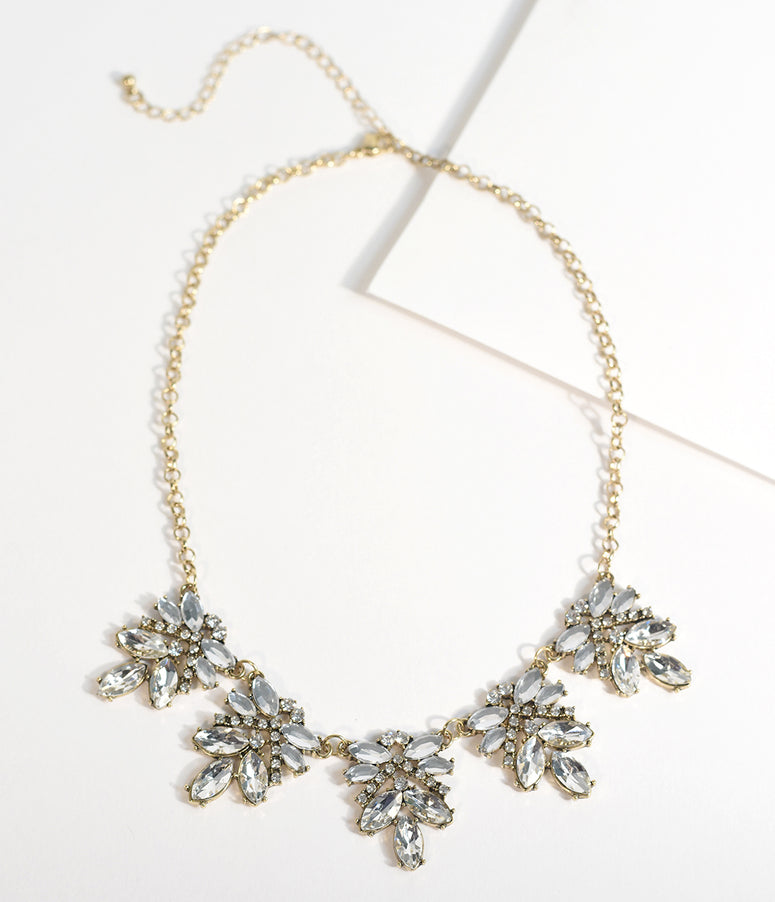 Vintage Style Silver Rhinestone & Crystal Necklace