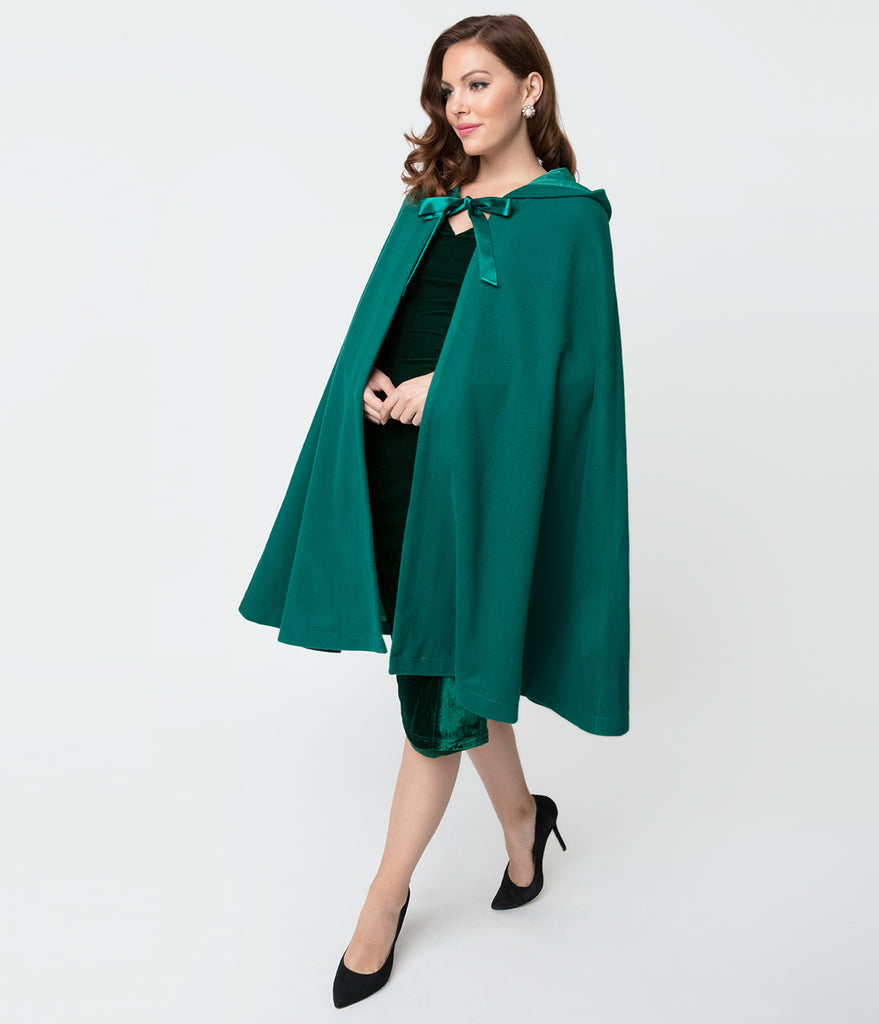Unique Vintage 1940s Style Emerald Green Stevie Hooded Cape Coat