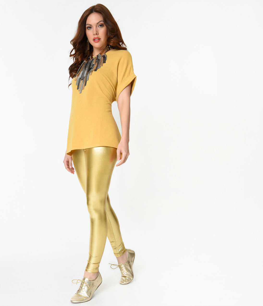 Vintage High Waisted Trousers, Sailor Pants, Jeans Retro Style Shiny Metallic Gold Stretch Leggings $22.00 AT vintagedancer.com