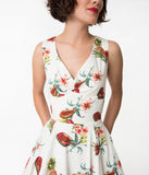 Ivory & Fruit Punch Print Sleeveless Cotton Swing Dress