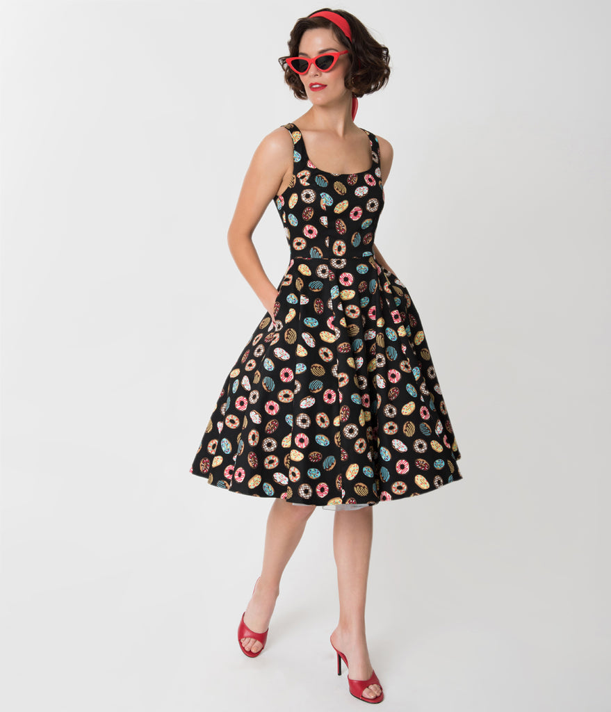 1950s Style Black & Delightful Donut Print Sleeveless Swing Dress