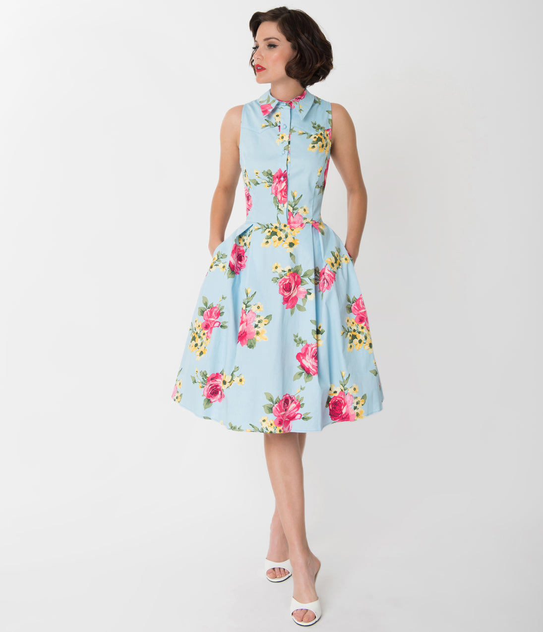Vintage 50s Dresses: 8 Classic Retro Styles Light Blue  Blooming Floral Print Button Up Swing Dress $68.00 AT vintagedancer.com
