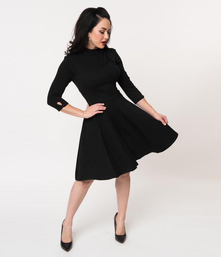 Unique Vintage Black Knit Three-Quarter Sleeved Parker Flare Dress