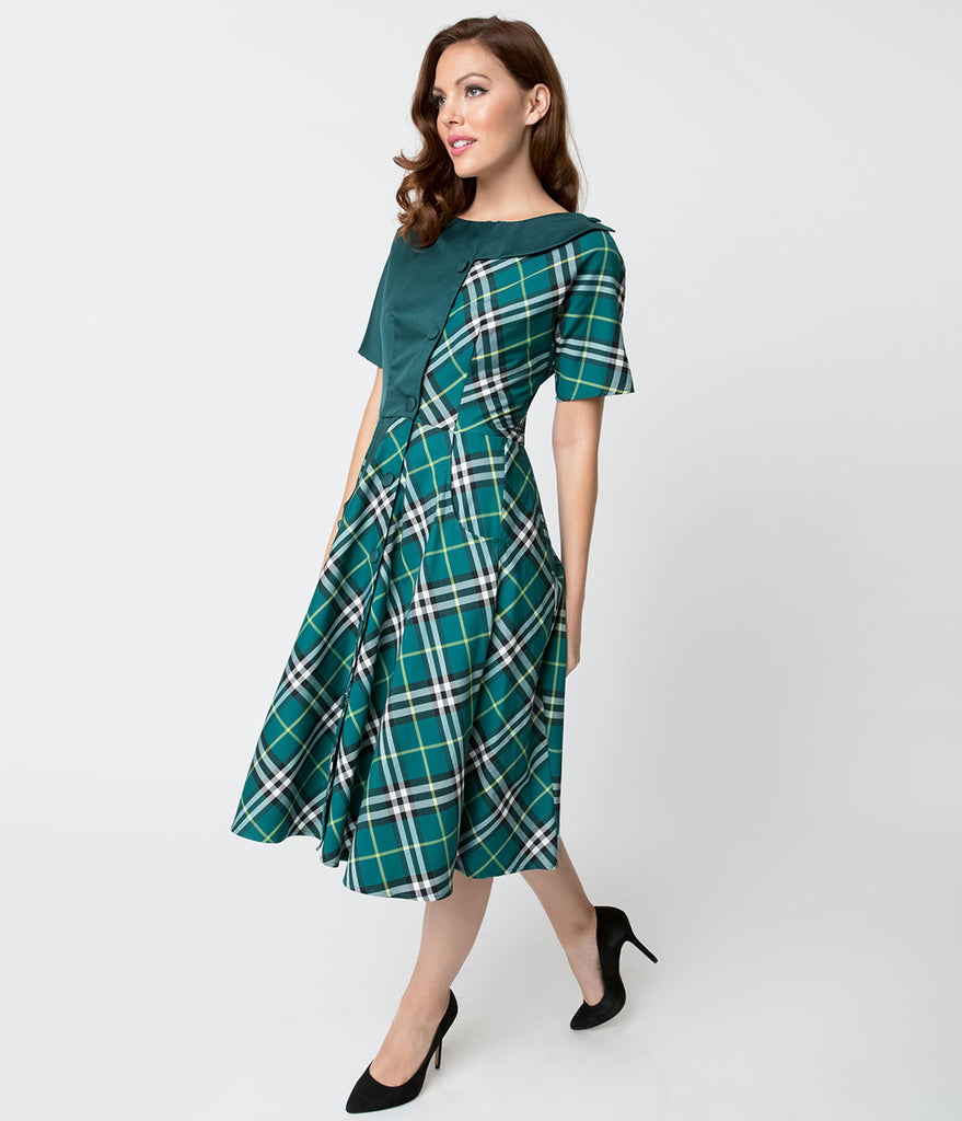 Unique Vintage 1940s Style Teal Plaid Short Sleeve Erwin Shirtdress