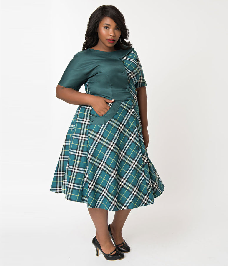 Unique Vintage Plus Size 1940s Style Teal Plaid Short Sleeve Erwin Shirtdress