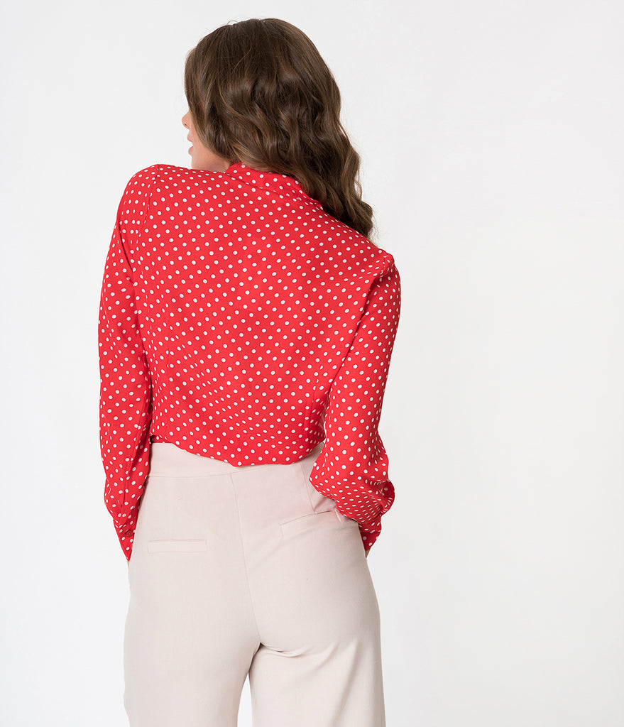 Red & White Polka Dot Long Sleeve Button Up Chiffon Blouse