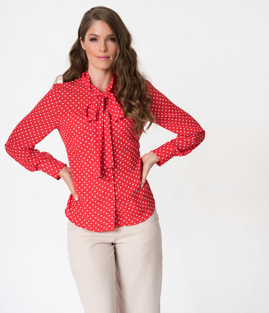 5df4989c62d4ec Red   White Polka Dot Long Sleeve Button Up Chiffon Blouse – Unique ...