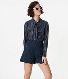 Navy Blue & White Polka Dot Long Sleeve Button Up Chiffon Blouse