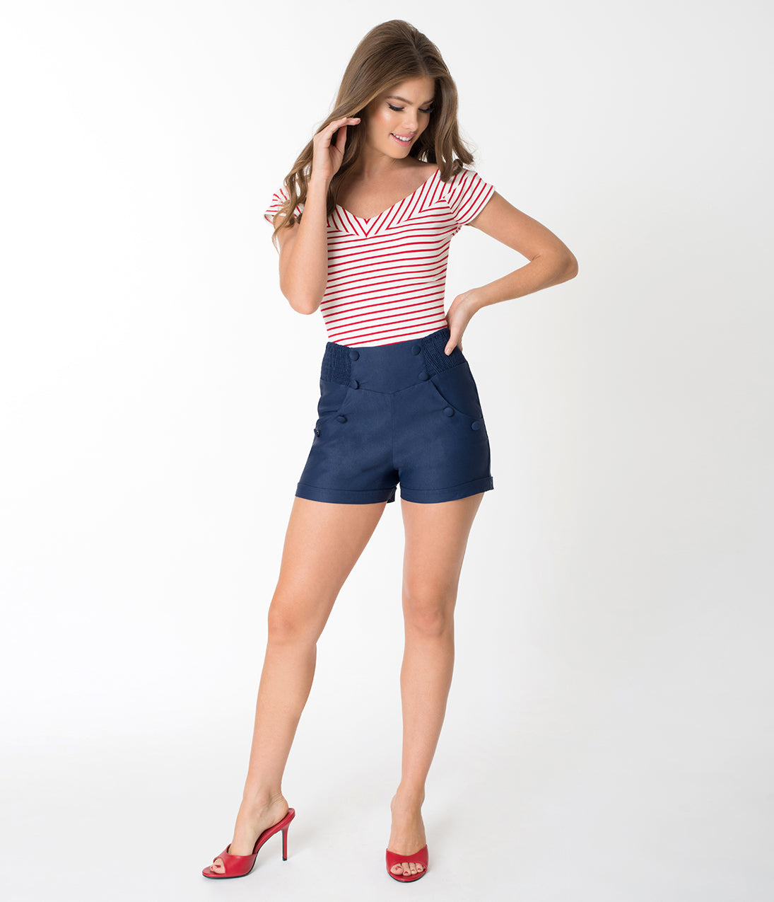 1940s Costume & Outfit Ideas – 16 Women's Looks Unique Vintage Navy Blue Nautical High Waist Sandy Shorts $52.00 AT vintagedancer.com